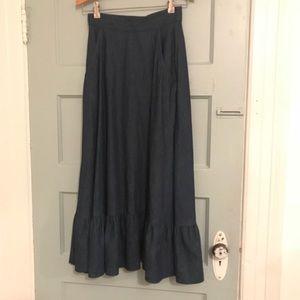 Dresses & Skirts - Vintage 70s Prairie Ruffle Hem Denim Maxi XS